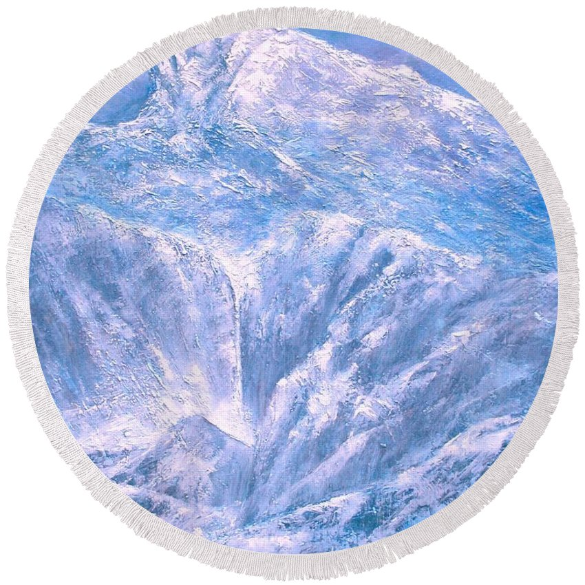 Landscape Round Beach Towel featuring the painting Near the Tetons by Jim Gola
