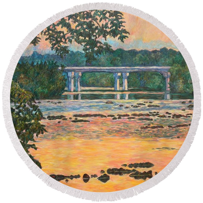 Landscape Round Beach Towel featuring the painting New Memorial Bridge at Dusk by Kendall Kessler