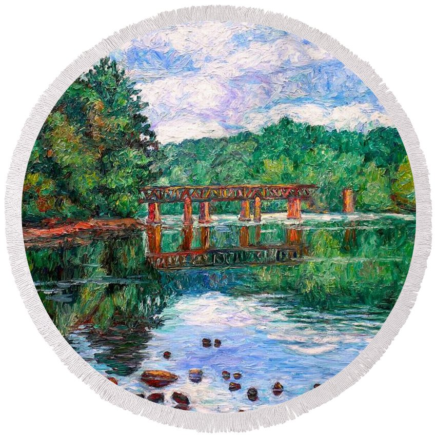 Landscape Round Beach Towel featuring the painting New River Trestle by Kendall Kessler