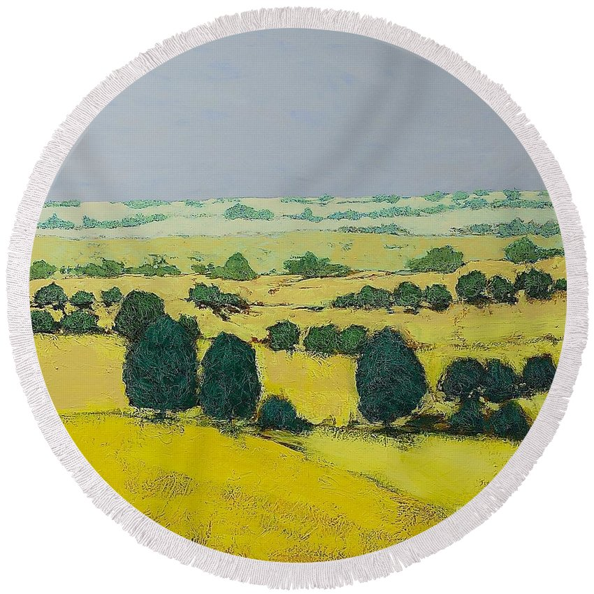 Landscape Round Beach Towel featuring the painting Next Hill by Allan P Friedlander
