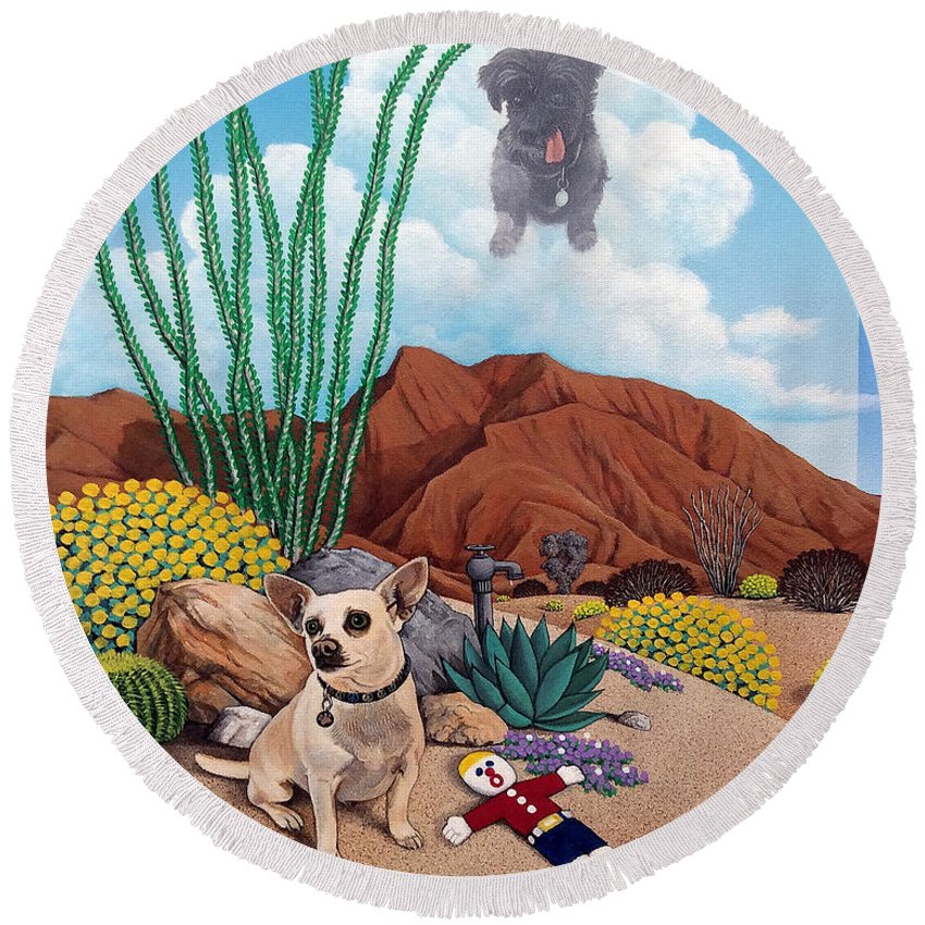 Pet Round Beach Towel featuring the painting Noel,Harley,and Mr.Bill by Snake Jagger