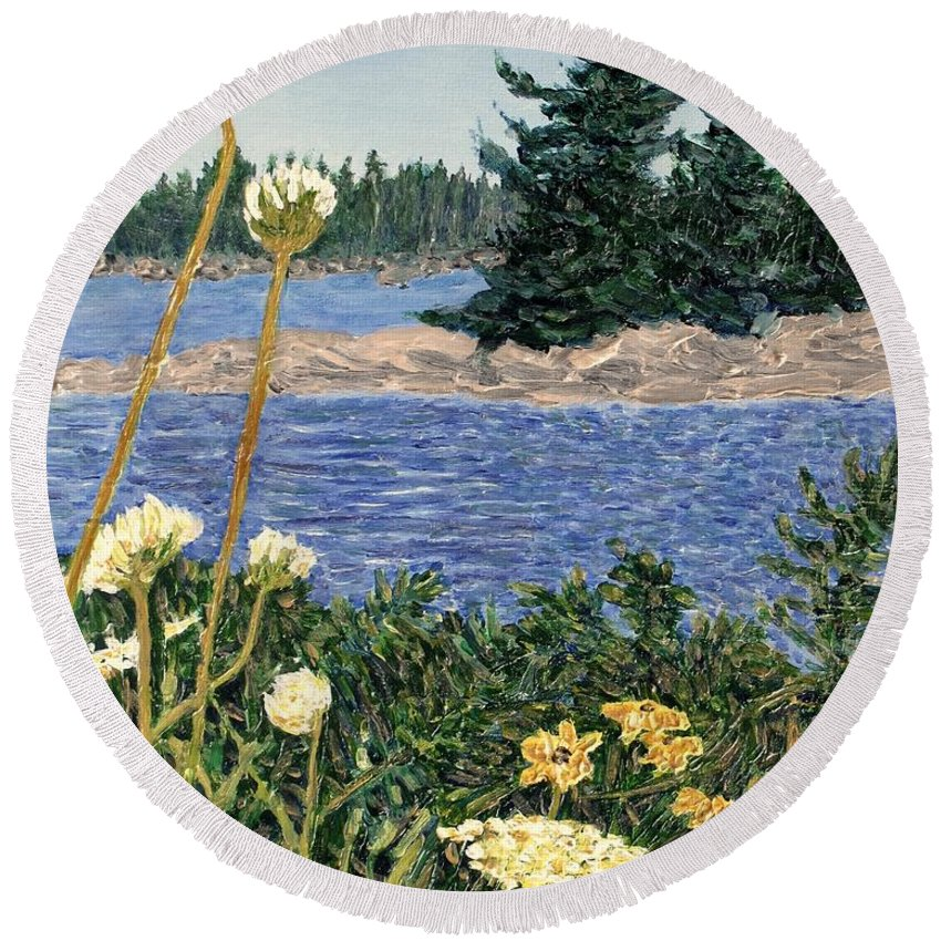 Northern Ontario Round Beach Towel featuring the painting North Channel Lake Huron by Ian MacDonald