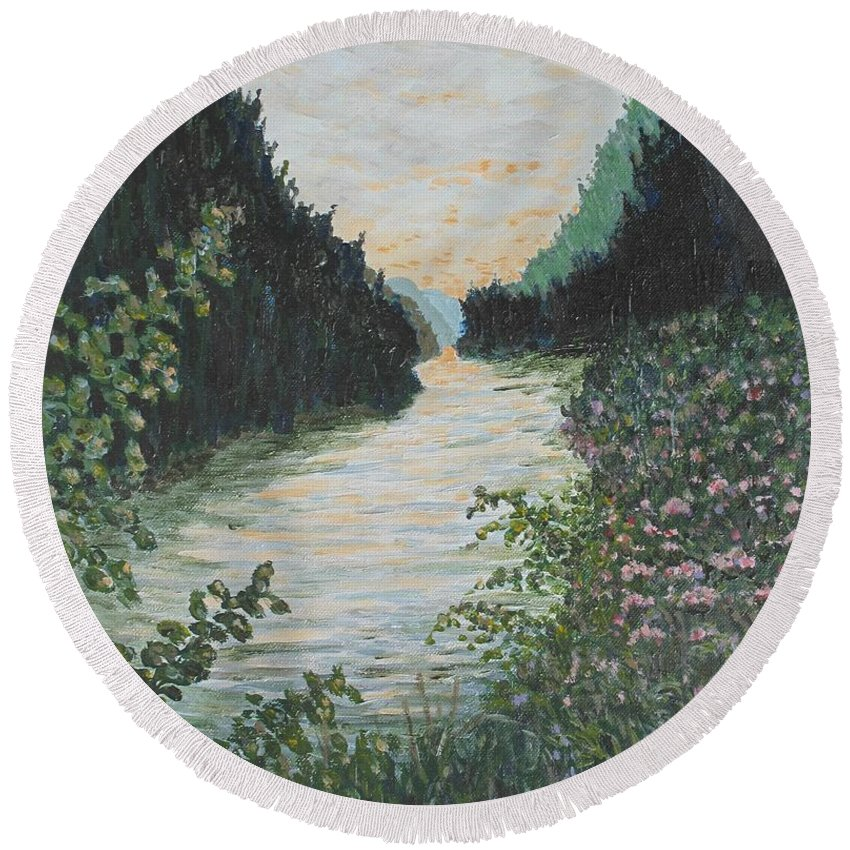 Agawa Canyon Round Beach Towel featuring the painting North of Sault Ste. Marie by Ian MacDonald