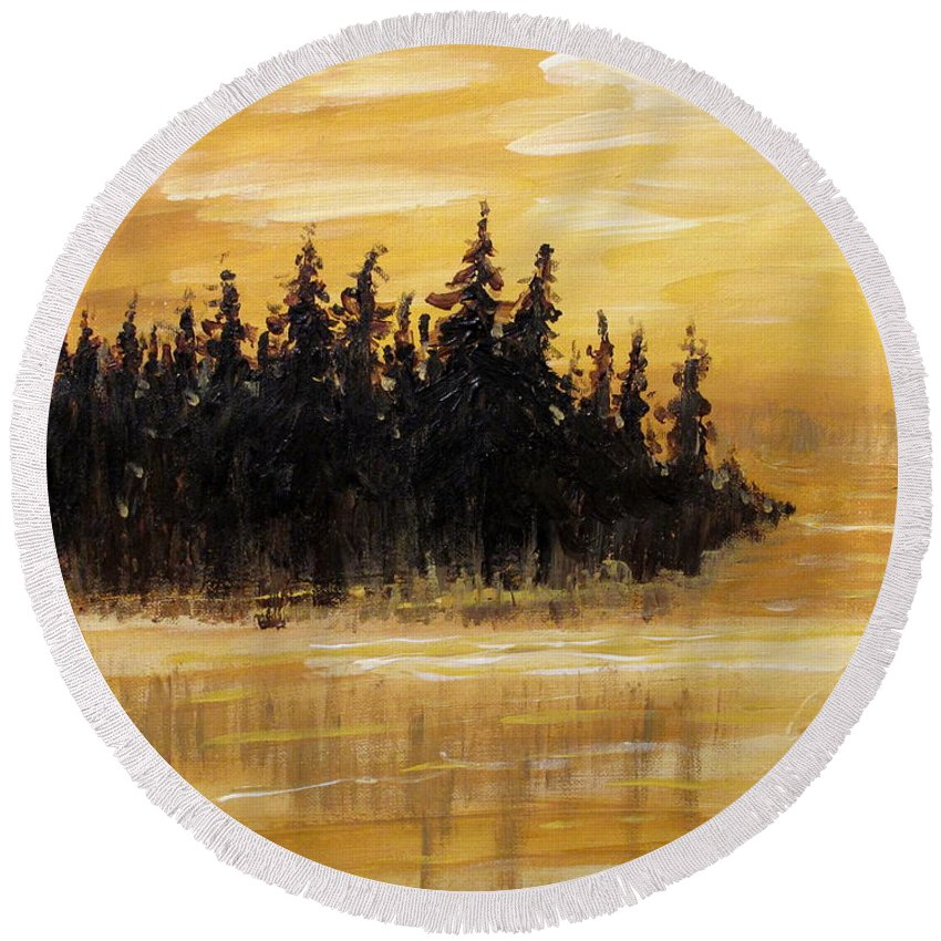 Northern Ontario Round Beach Towel featuring the painting Northern Ontario One by Ian MacDonald