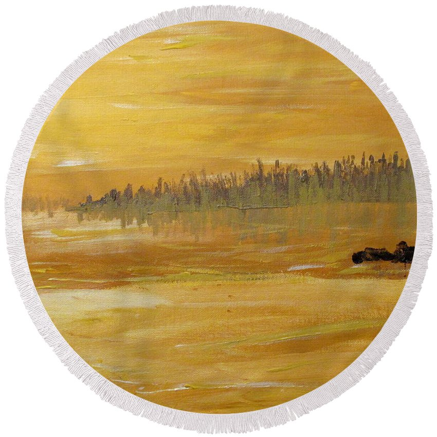 Northern Ontario Round Beach Towel featuring the painting Northern Ontario Two by Ian MacDonald