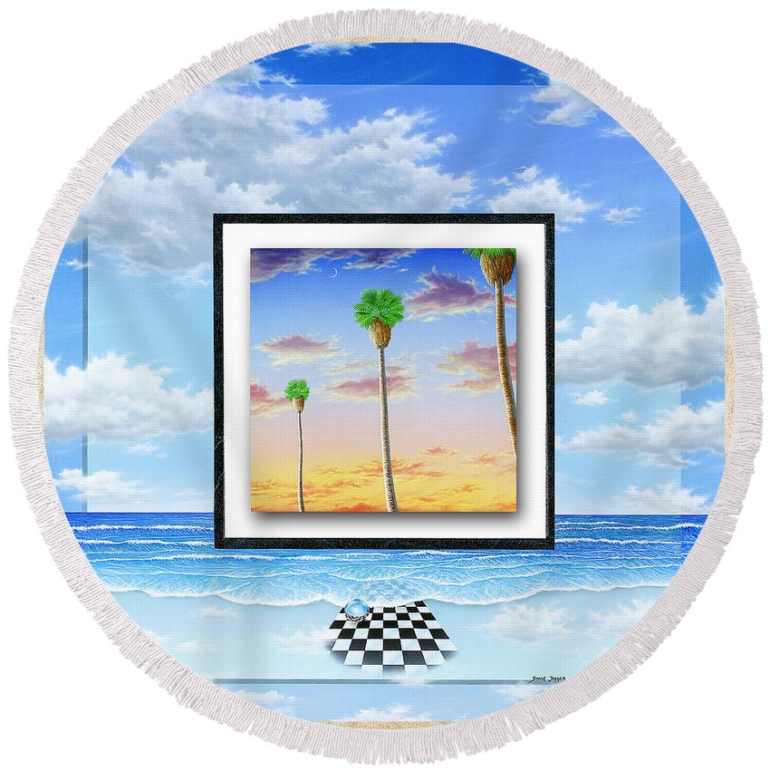 Ocean Round Beach Towel featuring the painting Noteworthy Aspirations by Snake Jagger