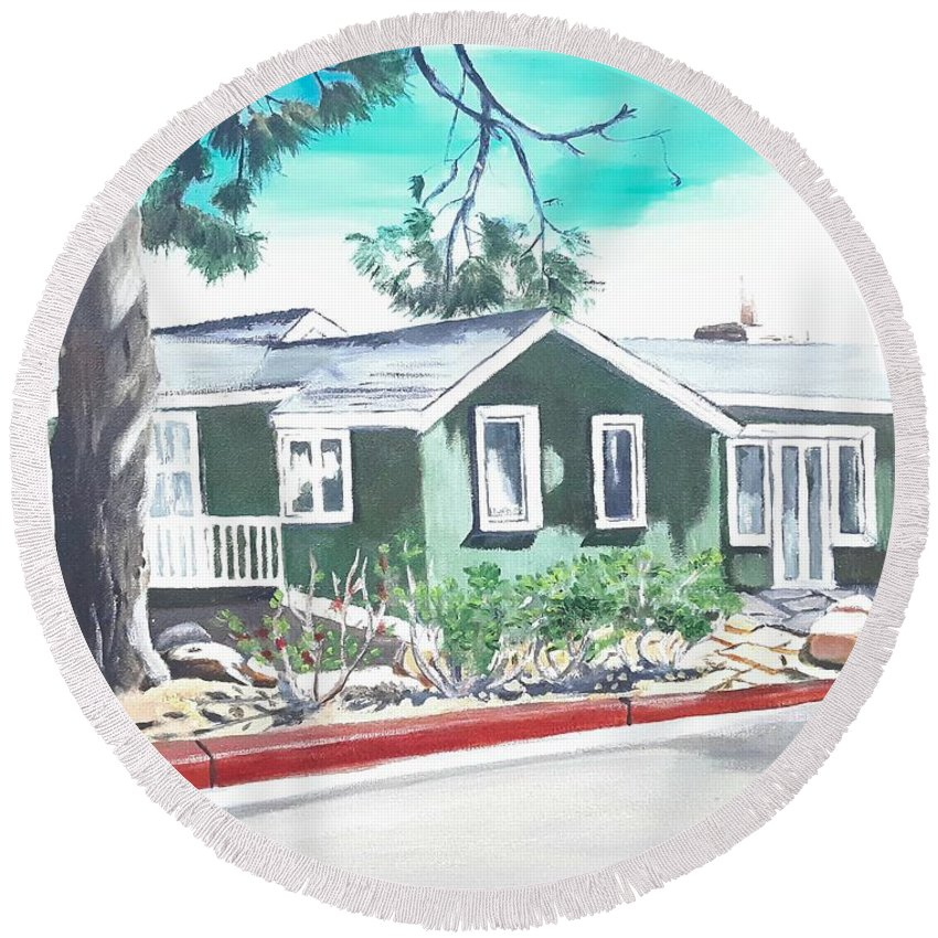 Landscape Round Beach Towel featuring the painting Ocean Front House by Andrew Johnson