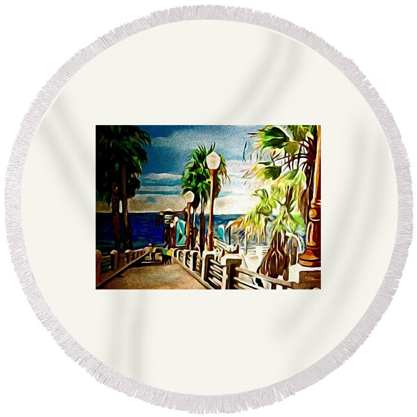 Landscape Round Beach Towel featuring the painting Oceanside Peir by Andrew Johnson