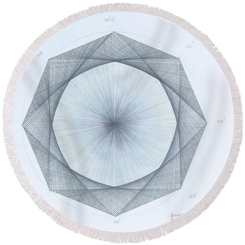 Octagon Round Beach Towel featuring the drawing Octagon limits by Jason Padgett