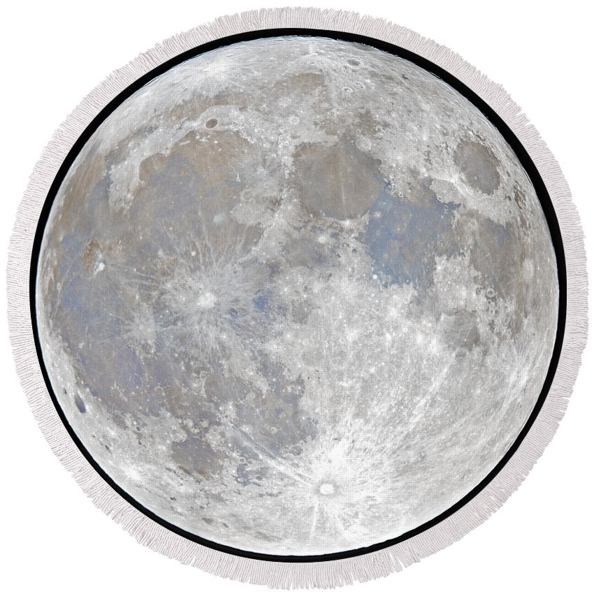 Fullmoon Round Beach Towel featuring the photograph October 2020 Halloween Full/Blue Moon by Prabhu Astrophotography
