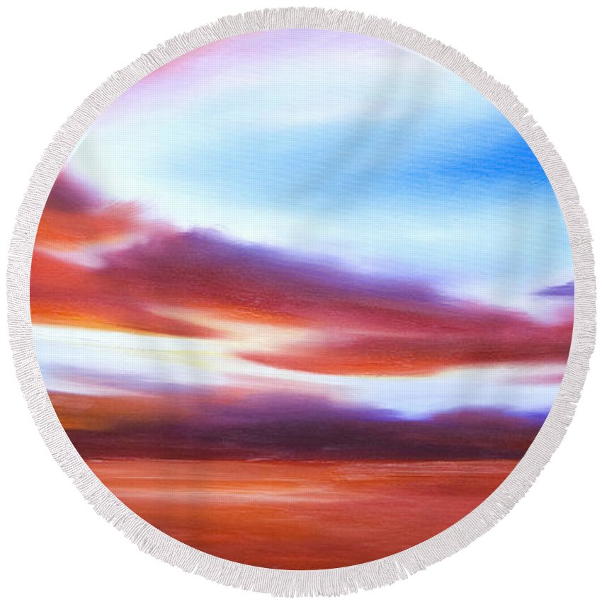 Skyscape Round Beach Towel featuring the painting October Sky IV by James Christopher Hill