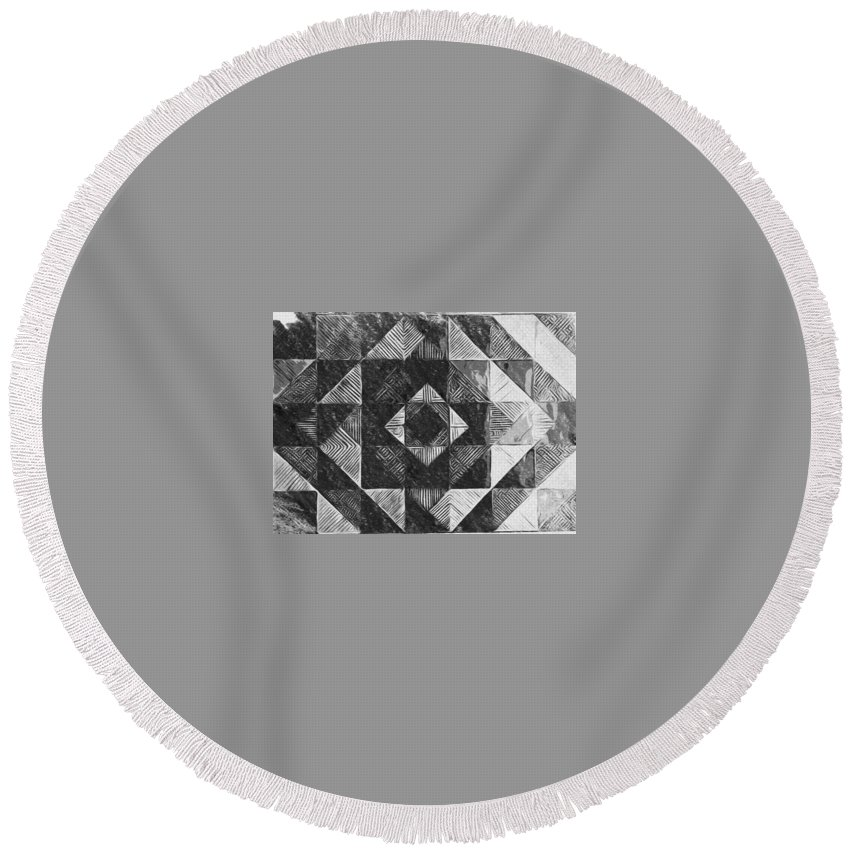 Art Round Beach Towel featuring the digital art Originated From Within by Andrew Johnson