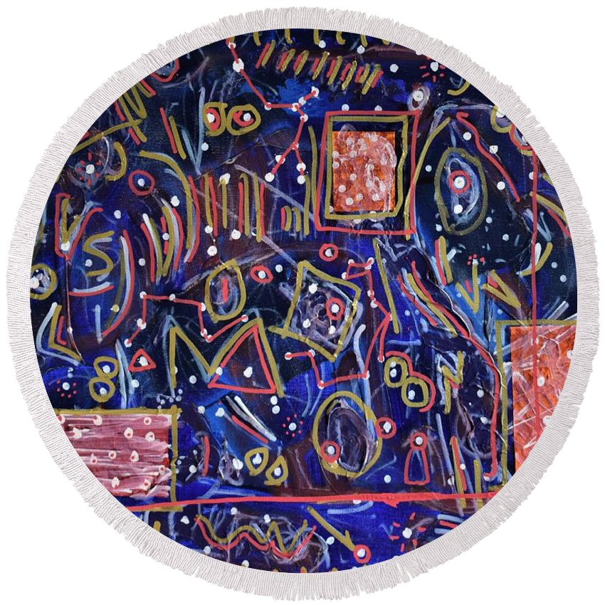 Natural Round Beach Towel featuring the painting Outta This World by Pam Roth O'Mara