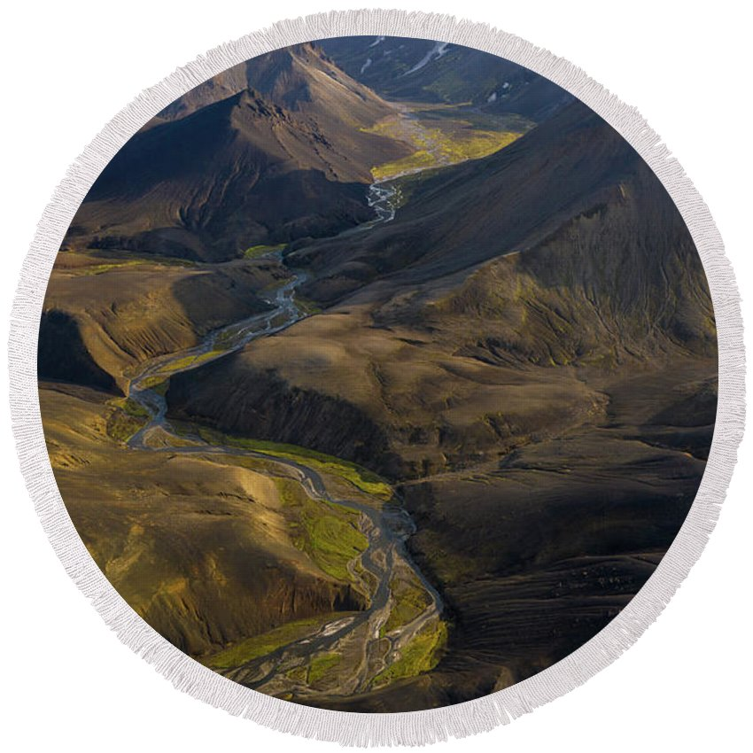 Iceland Round Beach Towel featuring the photograph Over Iceland Highlands Hills Of Rhyolite by Mike Reid