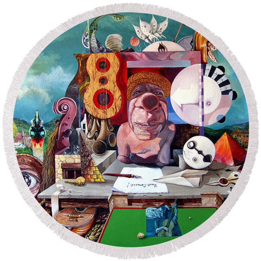 Surrealism Round Beach Towel featuring the painting Pablos Last Concert by Otto Rapp