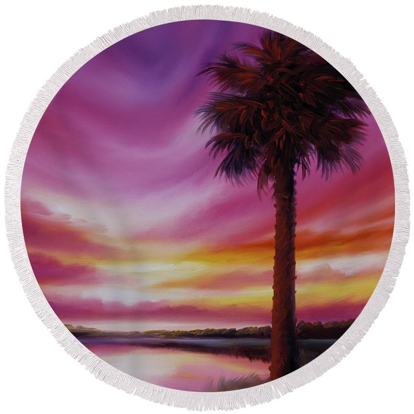 Sunrise Round Beach Towel featuring the painting Palmetto Moon by James Christopher Hill