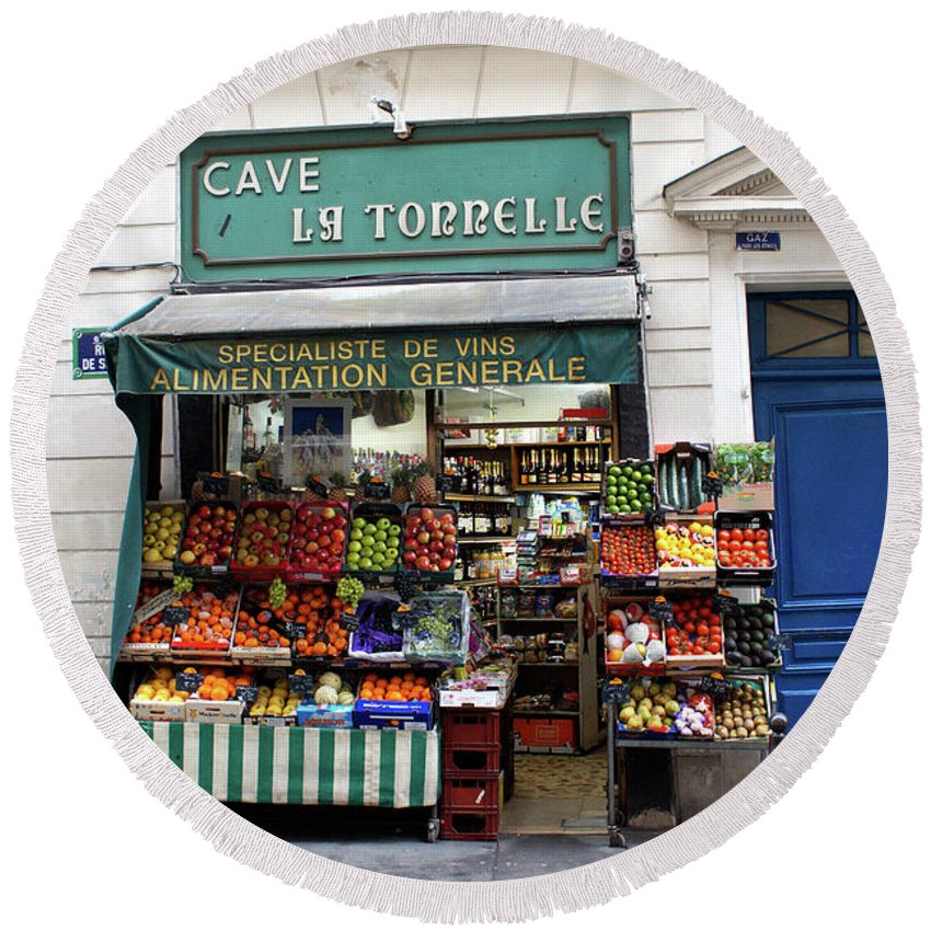 Everett Spruill Round Beach Towel featuring the photograph Parisian Produce Stand by Everett Spruill