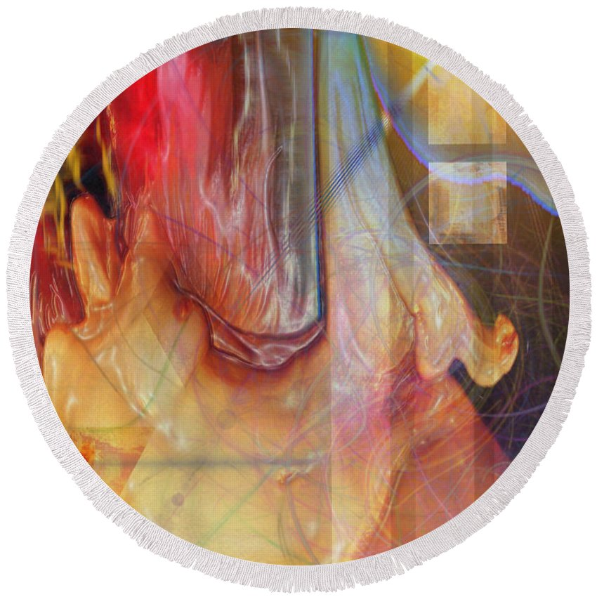 Passion Play Round Beach Towel featuring the digital art Passion Play by John Robert Beck