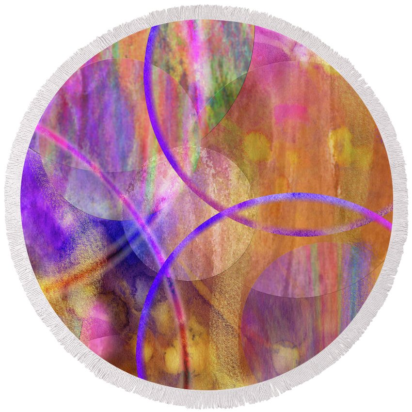 Pastel Planets Round Beach Towel featuring the digital art Pastel Planets by John Robert Beck