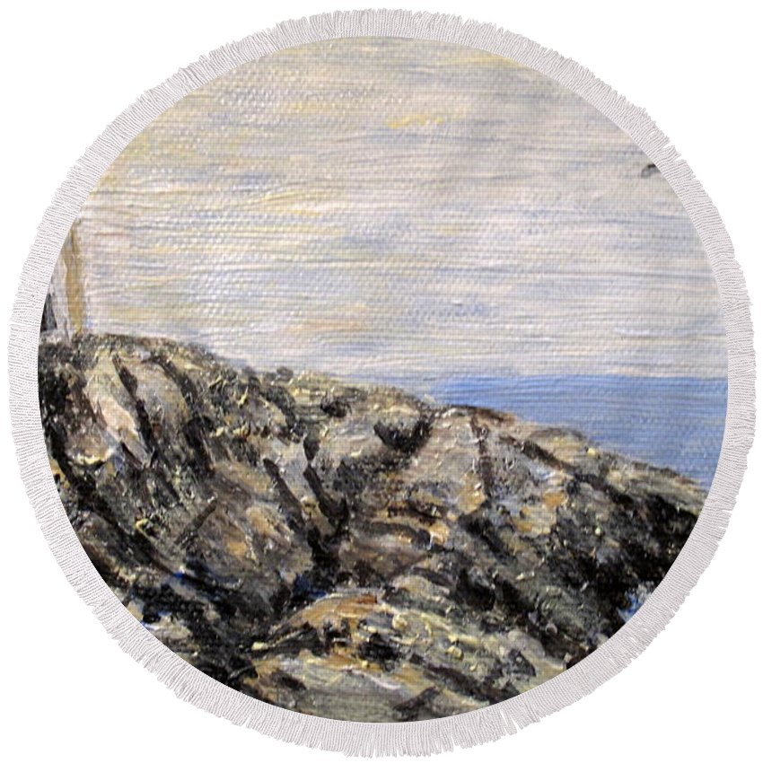 Lighthouse Round Beach Towel featuring the painting Peggys Cove Nova Scotia Lighthouse by Ian MacDonald