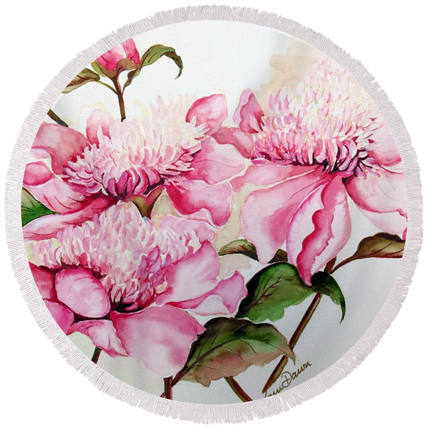 Flower Painting Flora Painting Pink Peonies Painting Botanical Painting Flower Painting Pink Painting Greeting Card Painting Pink Peonies Round Beach Towel featuring the painting Peonies by Karin Dawn Kelshall- Best