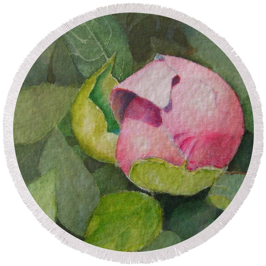 Watercolor Round Beach Towel featuring the painting Peony Bud by Mary Ellen Mueller Legault
