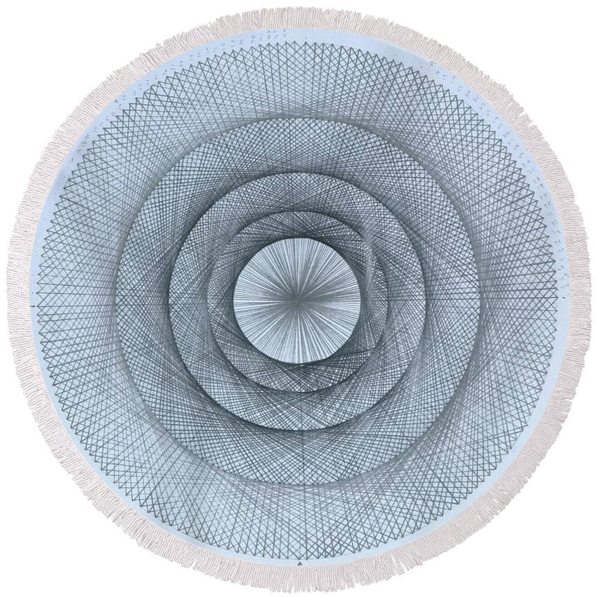 Pi Round Beach Towel featuring the drawing Pi within Pi by Jason Padgett