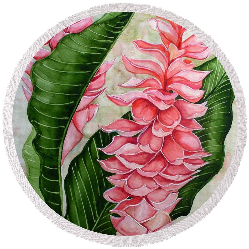 Flower Painting Floral Painting Botanical Painting Ginger Lily Painting Original Watercolor Painting Caribbean Painting Tropical Painting Round Beach Towel featuring the painting Pink Ginger Lilies by Karin Dawn Kelshall- Best