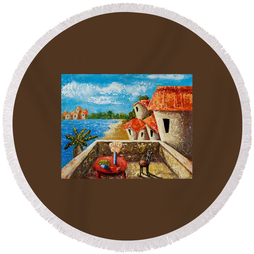 Landscape Round Beach Towel featuring the painting Playa Gorda by Oscar Ortiz