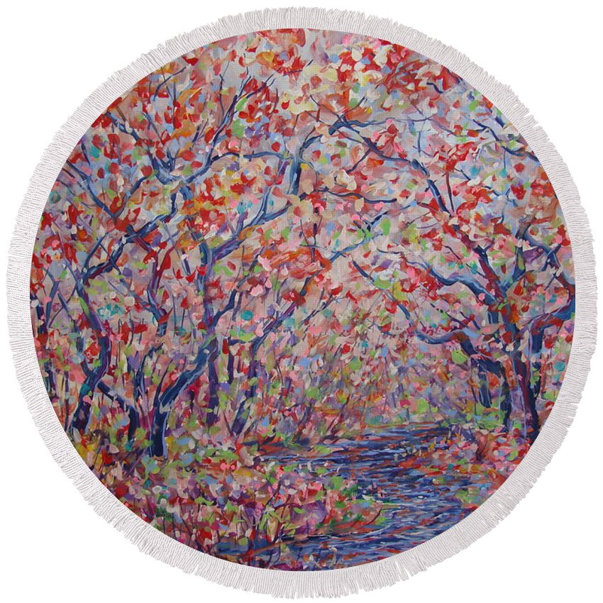 Landscape Round Beach Towel featuring the painting Poetic Forest. by Leonard Holland