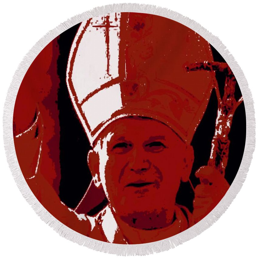 Pope Round Beach Towel featuring the painting Pope John Paul II Blessing by Jack Bunds