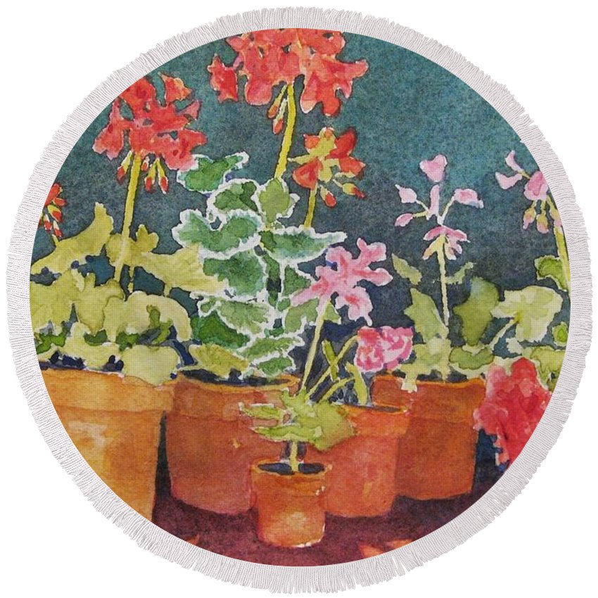Florals Round Beach Towel featuring the painting Potting Shed by Mary Ellen Mueller Legault