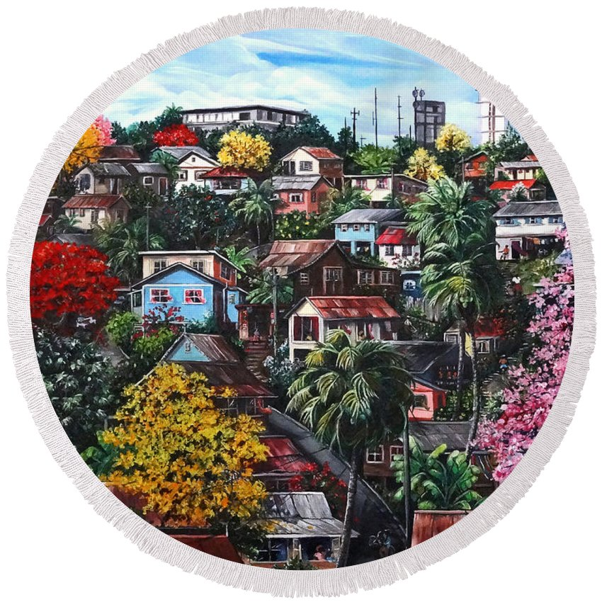 Landscape Painting Cityscape Painting Caribbean Painting Houses Hill Life Color Trees Poui Blossoms Trinidad And Tobago Floral Tropical Caribbean Round Beach Towel featuring the painting Poui Calling For The Rains by Karin Dawn Kelshall- Best