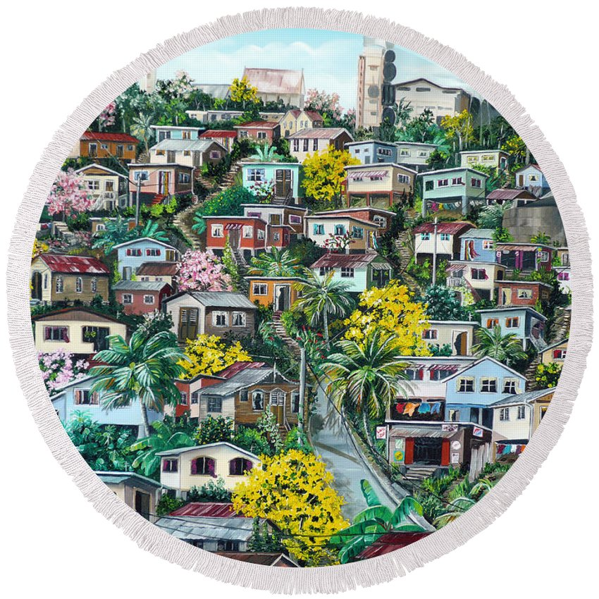 Landscape Painting Cityscape Painting Original Oil Painting  Blossoming Poui Tree Painting Lavantille Hill Trinidad And Tobago Painting Caribbean Painting Tropical Painting Round Beach Towel featuring the painting Poui On The Hill by Karin Dawn Kelshall- Best