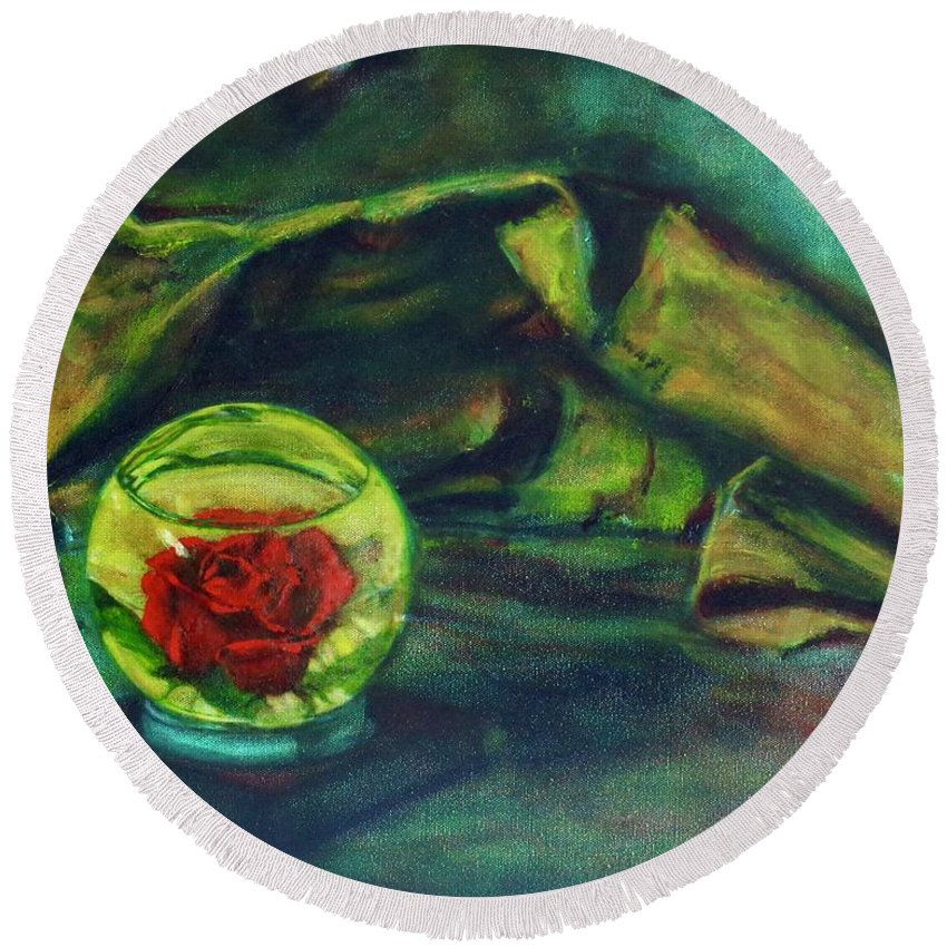 Oil Painting On Canvas Round Beach Towel featuring the painting Preserved Rose . . Draped Canvas by Sean Connolly