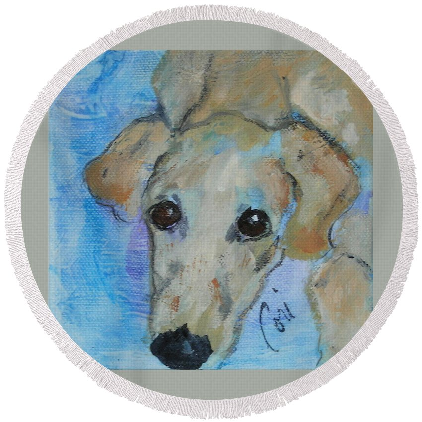 Acrylic Round Beach Towel featuring the drawing Pupster by Cori Solomon