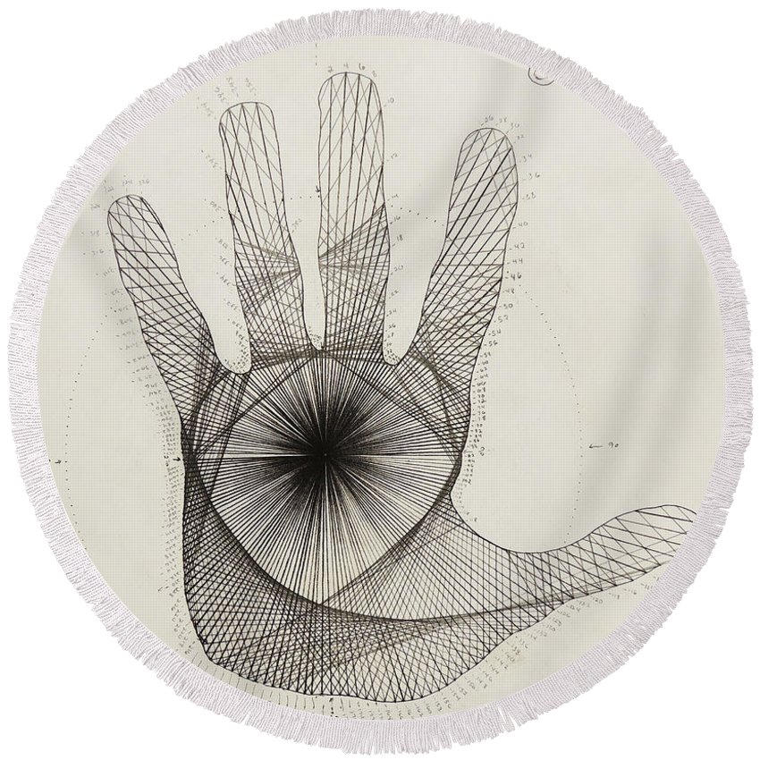 Quantum Round Beach Towel featuring the drawing Quantum Hand by Jason Padgett