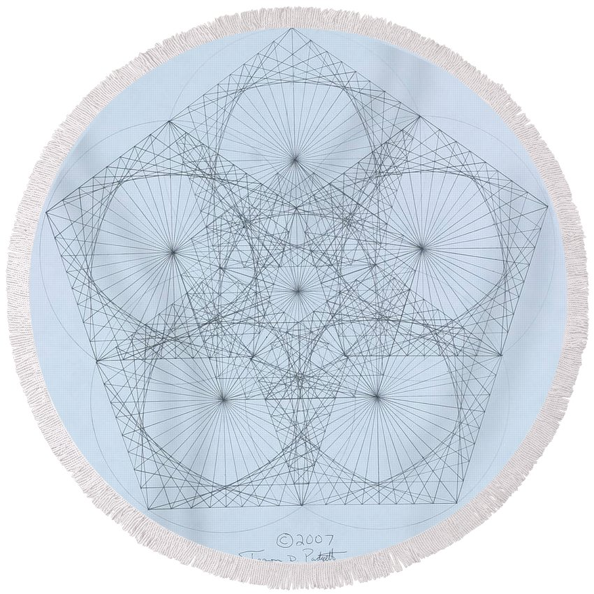 Star Round Beach Towel featuring the drawing Quantum Star high res. by Jason Padgett