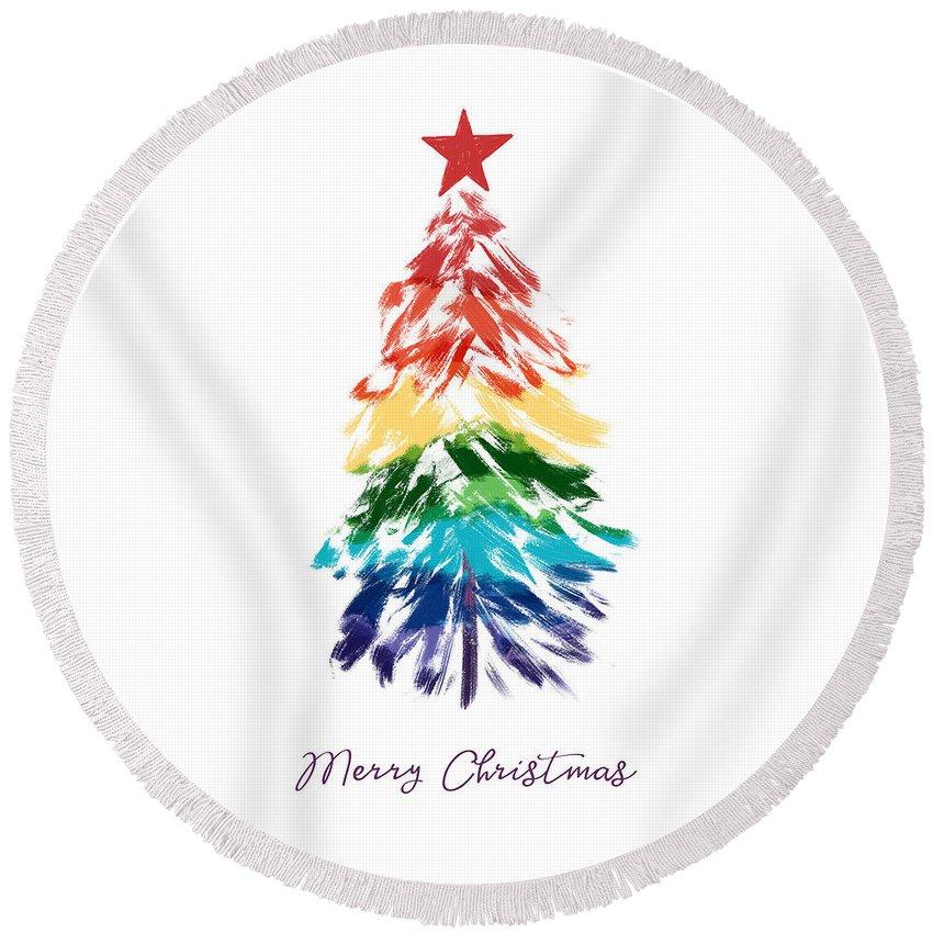Rainbow Christmas Tree Round Beach Towel featuring the digital art Rainbow Christmas Tree- Art By Linda Woods by Linda Woods