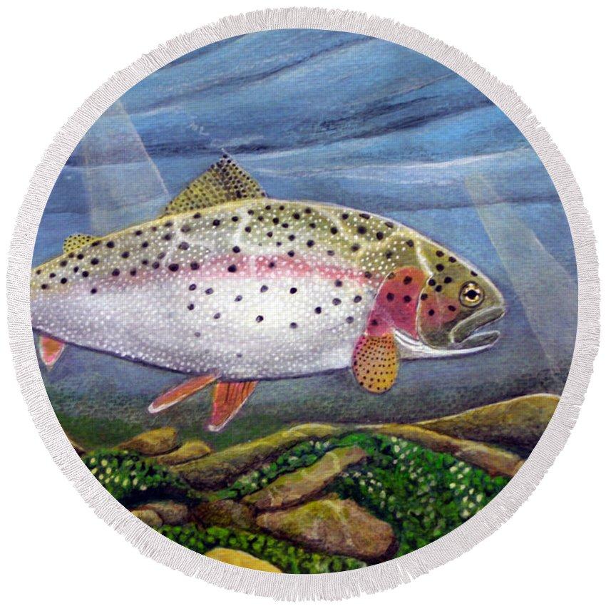 Rick Huotari Round Beach Towel featuring the painting Rainbow II by Rick Huotari