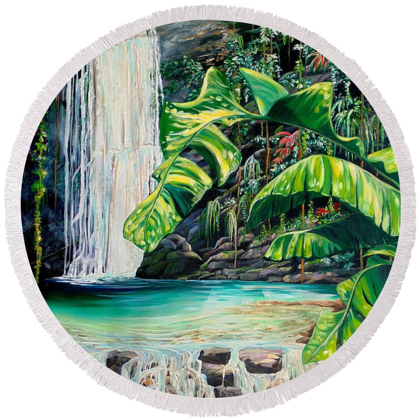 Water Fall Painting Landscape Painting Rain Forest Painting River Painting Caribbean Painting Original Oil Painting Paria Northern Mountains Of Trinidad Painting Tropical Painting Round Beach Towel featuring the painting Rainforest Falls Trinidad.. by Karin Dawn Kelshall- Best
