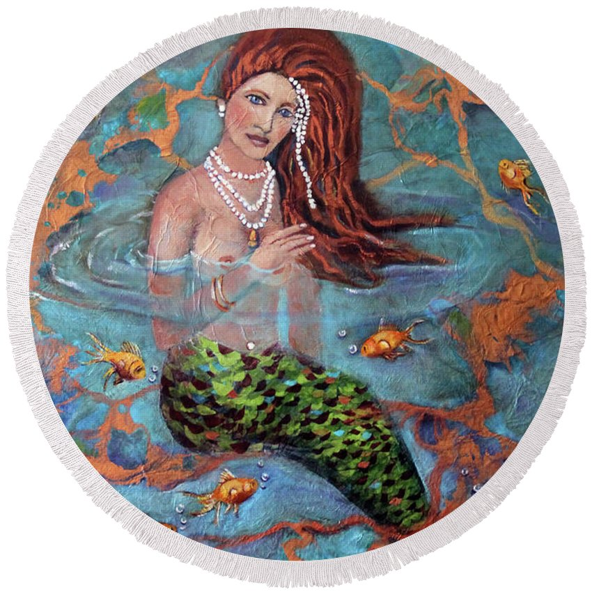 Blue Round Beach Towel featuring the painting Red Headed Mermaid Ophelia Painting by Linda Queally by Linda Queally