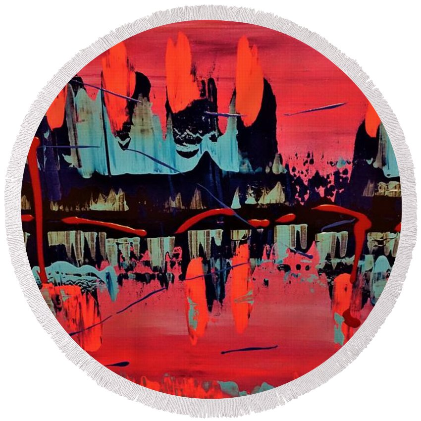 Red Round Beach Towel featuring the painting RED by Jimmy Clark