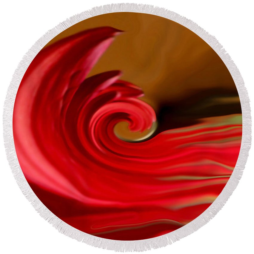 Abstract Art Round Beach Towel featuring the photograph Red Sea by Linda Sannuti