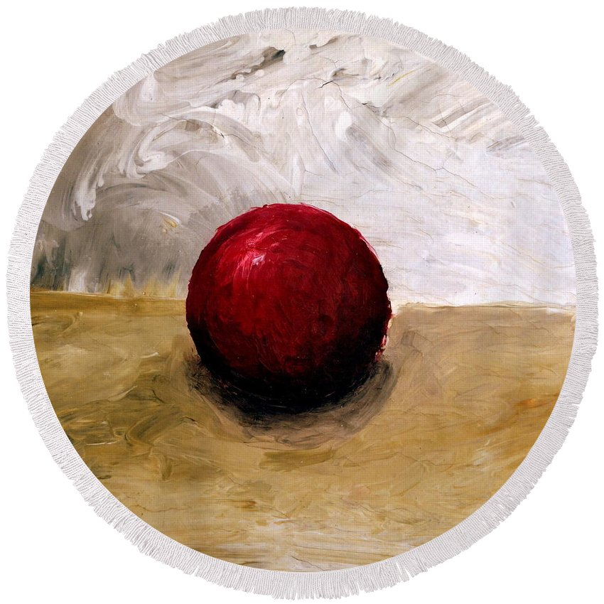 Red Round Beach Towel featuring the painting Red Sphere by Michelle Calkins