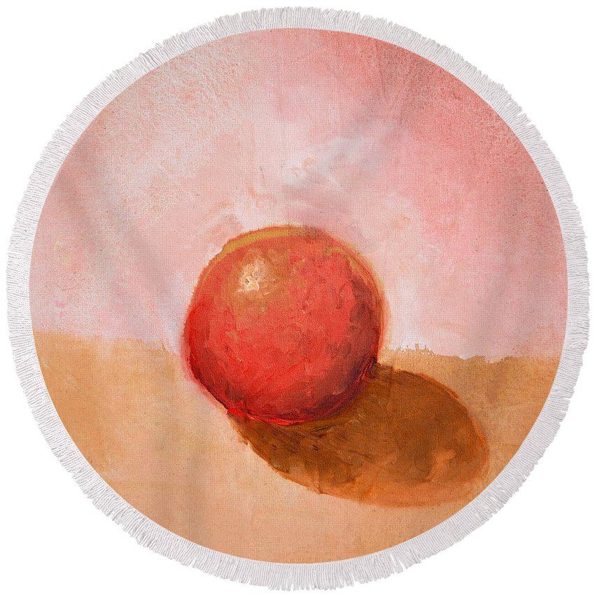 Spheres Round Beach Towel featuring the painting Red Sphere Still Life by Michelle Calkins