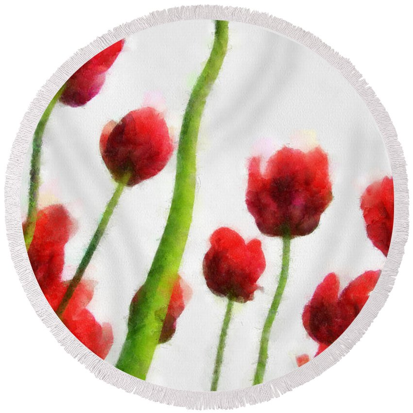 Hollander Round Beach Towel featuring the photograph Red Tulips from the Bottom Up I by Michelle Calkins