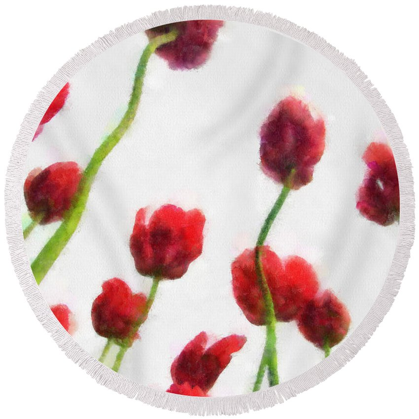 Hollander Round Beach Towel featuring the photograph Red Tulips from the Bottom Up ll by Michelle Calkins