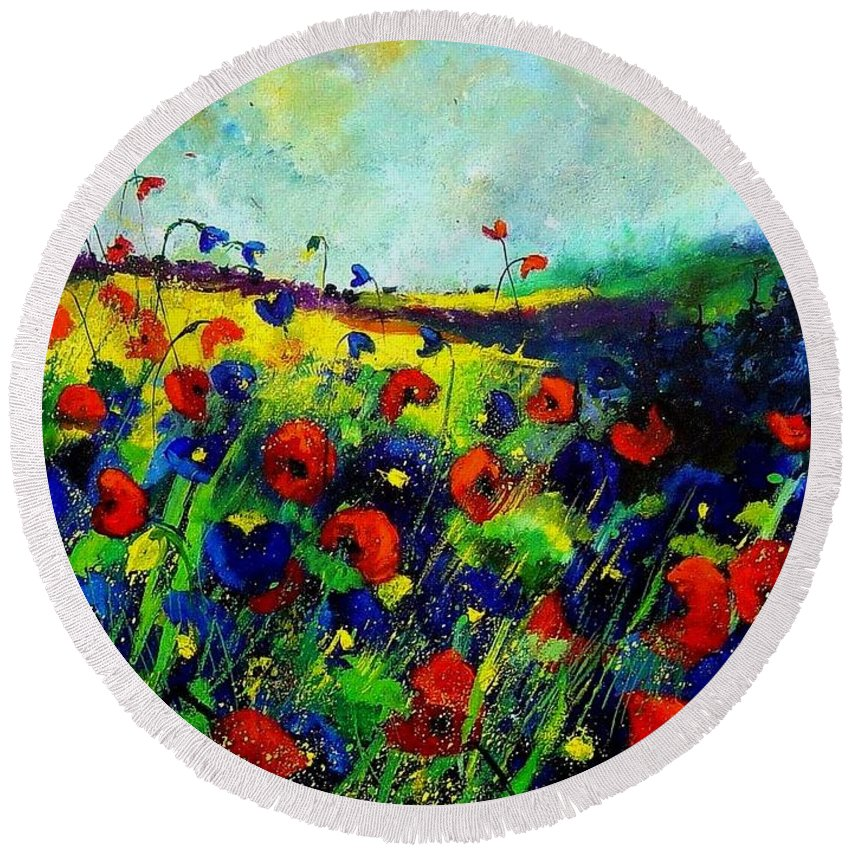 Flowers Round Beach Towel featuring the painting Reda nd blue poppies 68 by Pol Ledent