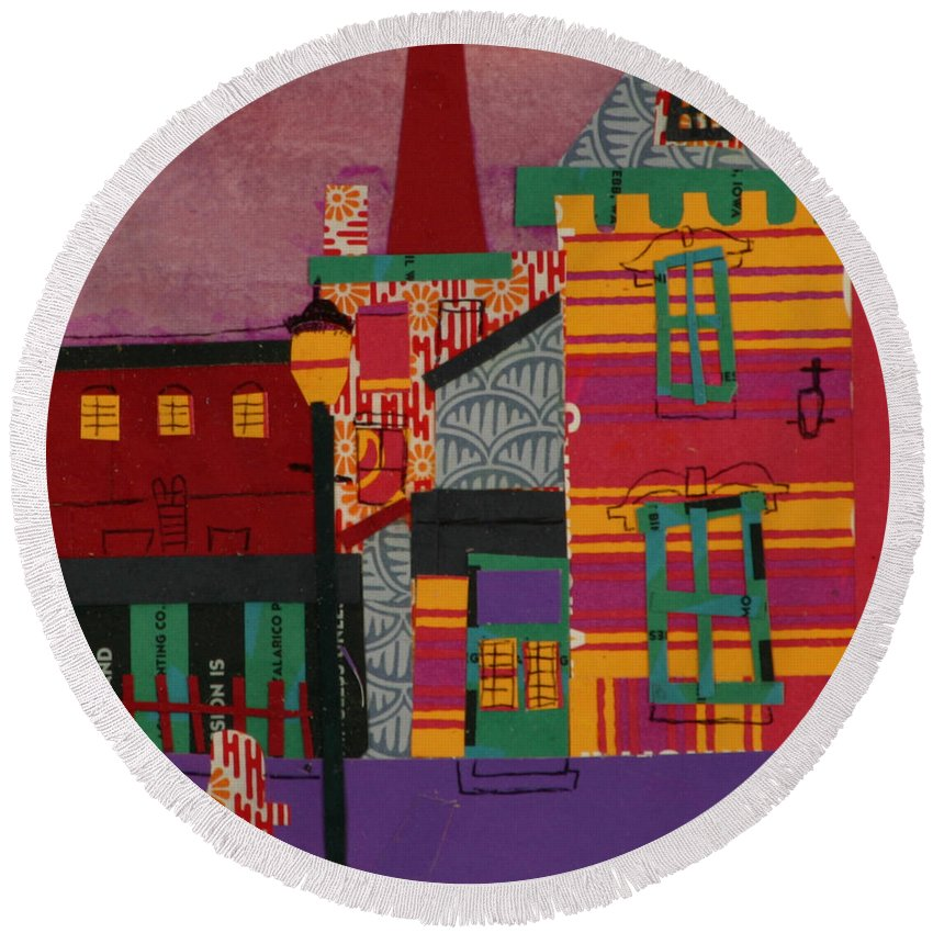 Lowell Round Beach Towel featuring the mixed media Revolving Museum by Debra Bretton Robinson